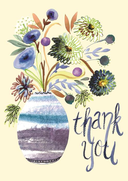 Vase With Watercolor Flowers Card-Thanks-Gen